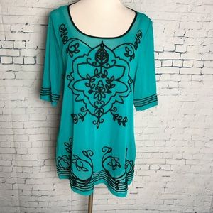 Womens Sheer Green Embroidered Top w/ Tank NWT